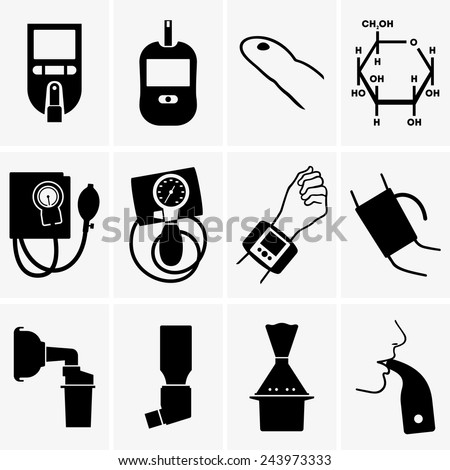 Glucometer, tonometer, inhaler - stock vector