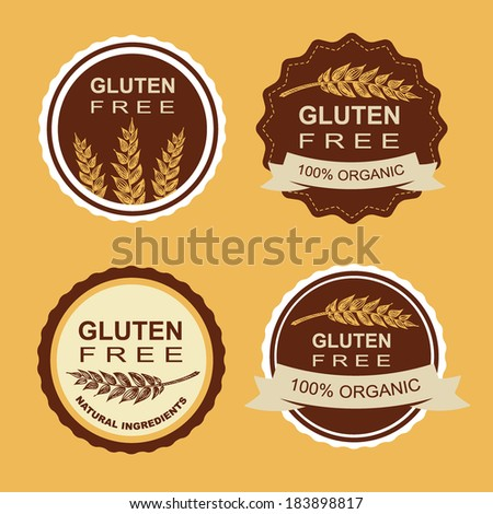 Gluten free and wheat labels. Retro design. - stock vector