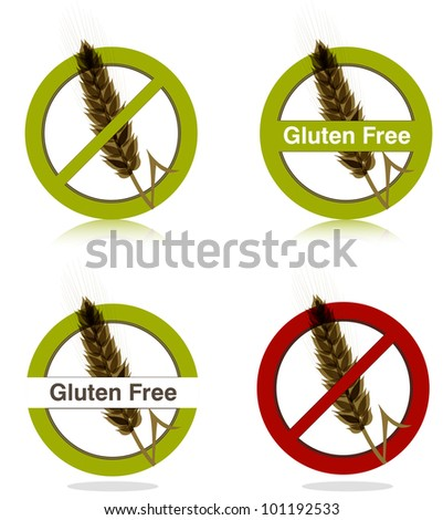 Gluten free diet icons collection. Beautiful bright colors. - stock vector