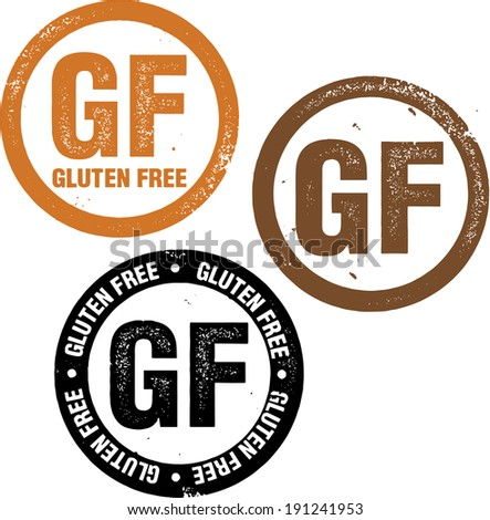 Gluten Free GF Distressed Rubber Stamp - stock vector