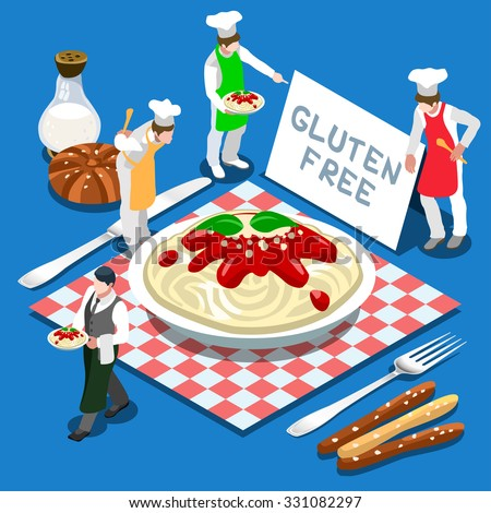 Gluten Free Plate of Pasta Italian Recipe. Flat 3d Isometric Colorful Concept of Mais or Rice Pasta Products. Simply Delicious Taste of Home. People set Collection JPG JPEG Image Art Vector EPS 10 AI - stock vector
