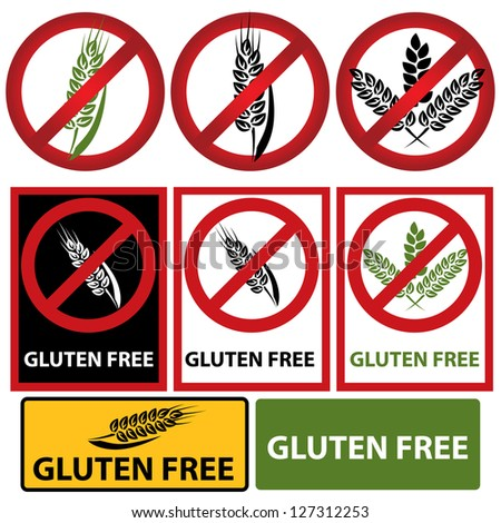 Gluten free set - stock vector