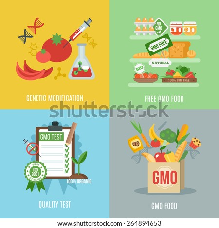Gmo design concept set with food genetic modification flat icons isolated vector illustration - stock vector