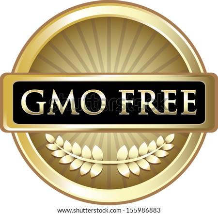 GMO Free Gold Vintage Label - stock vector