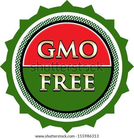 GMO Free Green Label - stock vector