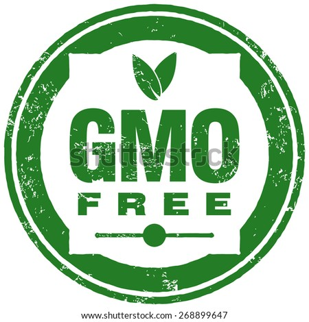 gmo free stamp - stock vector