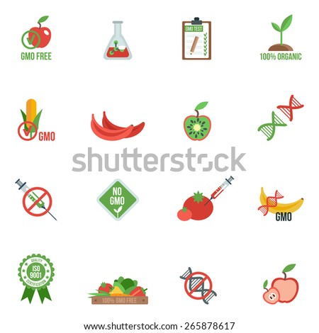 Gmo with genes modified food and warning information icons flat set isolated vector illustration - stock vector