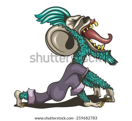 gnarly Screaming Monkey - stock vector