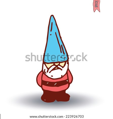 gnome Hand drawn, vector illustration. - stock vector