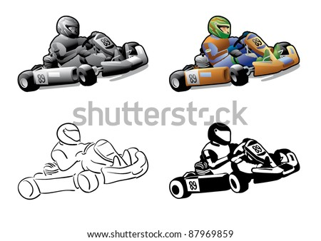go cart karting racing race - stock vector