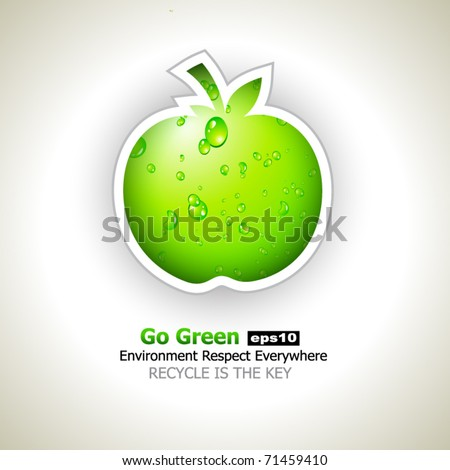 Go Green and Recycle Everything Slogan with green liquid apple for Eco Flyers - stock vector