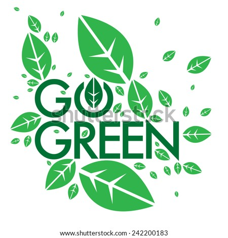 Go Green campaign education poster - stock vector