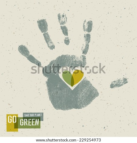 Go Green Concept Poster With Handprint Symbol - stock vector