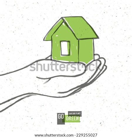 Go Green Concept Poster With House. Vector - stock vector