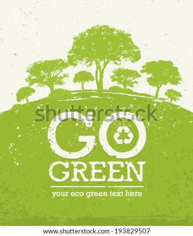 Go Green Eco Tree Recycling Concept on Organic Paper Background - stock vector