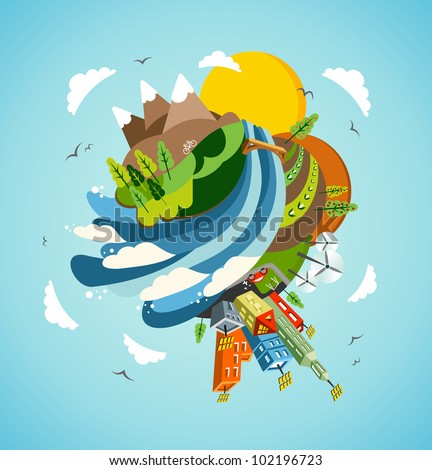 Go green energy Earth globe. Global sustainable development concept background illustration. Vector file layered for easy manipulation and custom coloring. - stock vector
