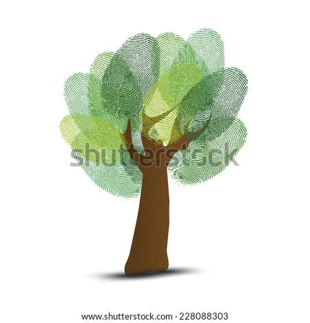 Go Green identity tree finger prints illustration. - stock vector