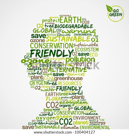 Go Green. Man head with words cloud about environmental conservation. Vector file available. - stock vector