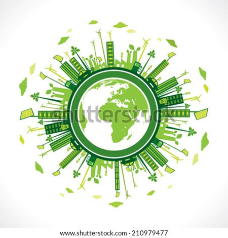 go green or save earth background concept vector  - stock vector
