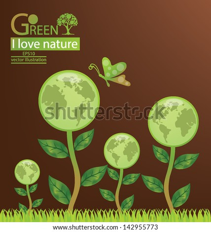 Go green. Save world. vector illustration. - stock vector