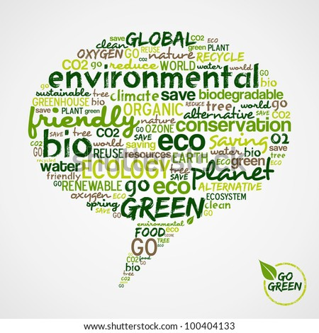 Go Green.  Social media speech with words cloud about environmental conservation. Vector file available. - stock vector