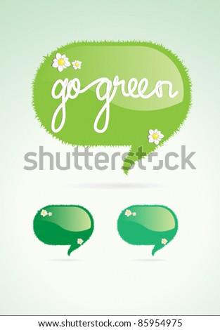 Go green speech bubble vector element - stock vector