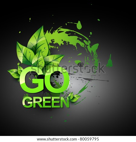 go green vecto symbol style design - stock vector