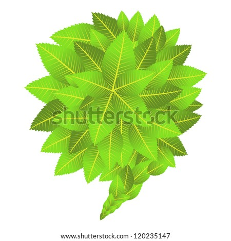 Go Green web marketing campaign: leaves composition in bubble shape. Vector file layered for easy manipulation and custom coloring. - stock vector