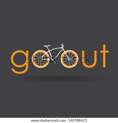 Go out with bicycle. - stock vector