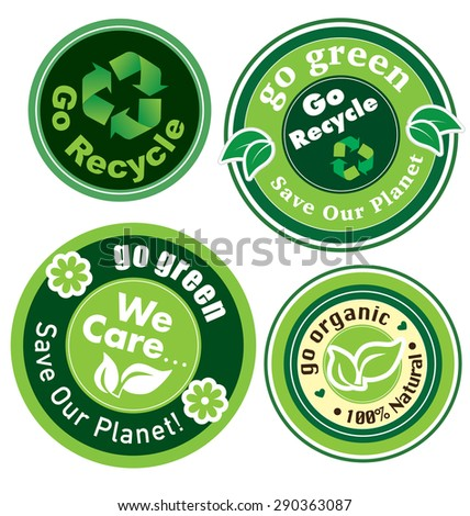 Go Recycle, Go Green Label (vector) - stock vector