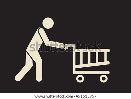 go shopping icon: person with the trolley - stock vector