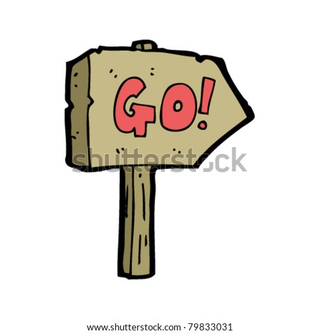 go sign cartoon - stock vector