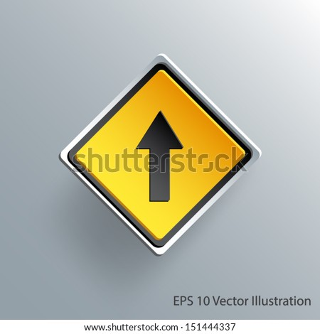 go straight direction traffic sign 3d paper design eps 10 vector illustration - stock vector