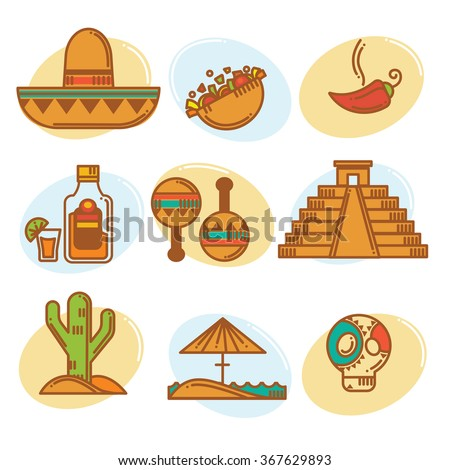 Go to Mexico, vector mexican symbols emblems and icons collection, line art style - stock vector
