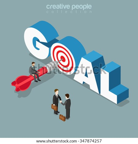 Goal achievement flat 3d isometry isometric business concept web vector illustration. Micro man sitting on dart in target letter O in GOAL word. Creative people collection. - stock vector