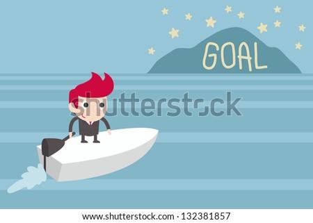 goal setting, man sailing to goal island, vector - stock vector
