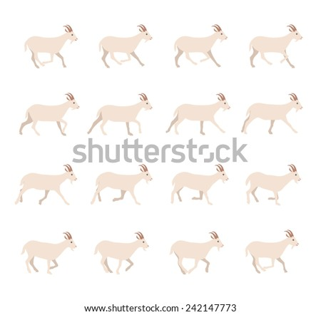Goat Cartoon Locomotion - stock vector
