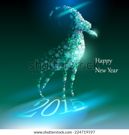 Goat. Happy new year 2015. EPS 10. - stock vector