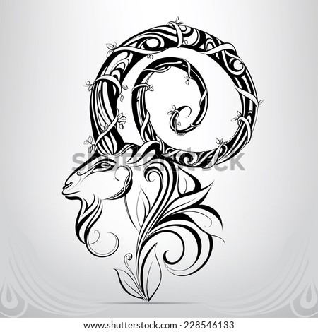 Goat head in the ornament - stock vector