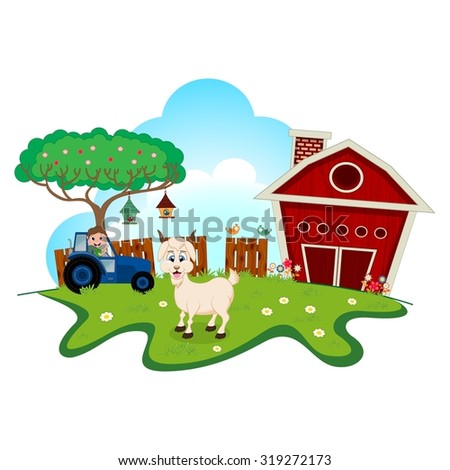 Goat on farm for your design - stock vector