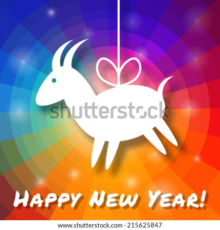 Goat Paper Applique on Bright Colorful Rainbow Background. 2015 - Chinese New Year of the Goat. Vector illustration.  - stock vector
