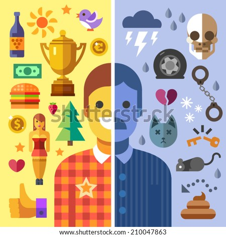 God and evil in man, good and bad mood, fun and sadness.Color vector flat icon set and illustration opposites: sun, money girl, love, joy, success, health, storm, death, accident, rat, shit, handcuffs - stock vector