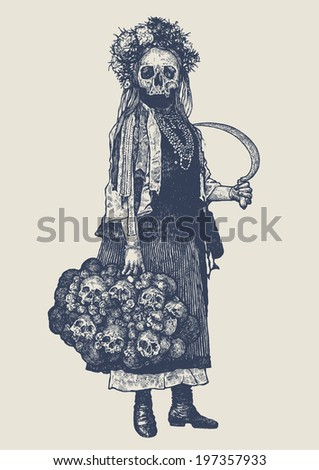 Goddess Of Death with sickle and bunch skulls. drawing style. vector illustration  - stock vector
