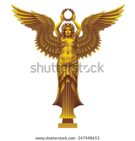 Goddess of victory Nike symmetrical on a white background. Tinted Bronze - on a separate layer - stock vector