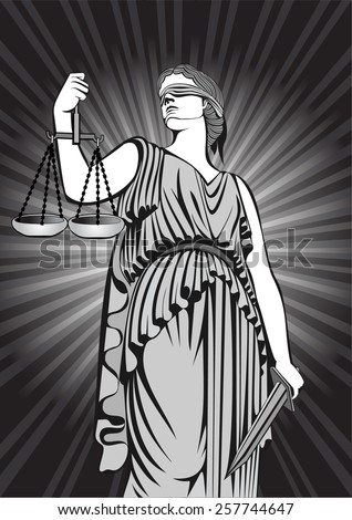Goddess Themis.Equality .A fair trial.Law  - stock vector
