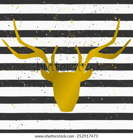 Goden deer head on a hand drawn style seamless striped pattern. Vintage abstract repeat pattern in black and white. - stock vector