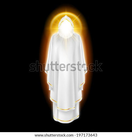 Gods guardian angel in white dress with golden radiance.  Religious concept - stock vector