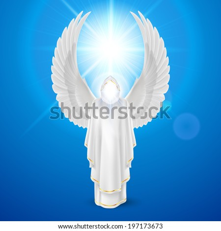 Gods guardian angel in white dress with wings up against sky background and bright sun flare. Religious concept - stock vector