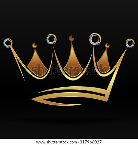 Gold abstract crown for graphic design and logo on black background - stock vector