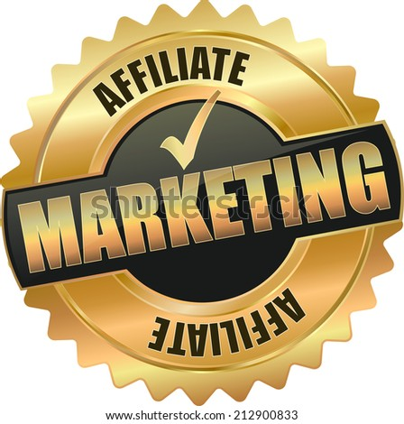 gold affiliate marketing sign - stock vector